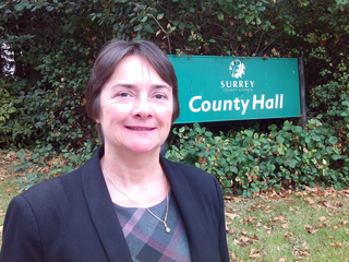 Cllr Hazel Watson outside County Hall