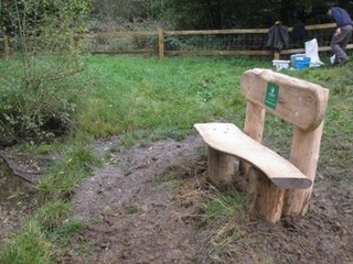 Bench for newts pond (Lower Mole Countryside Trust)