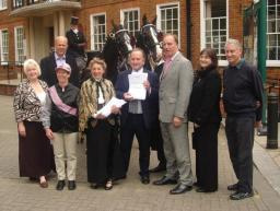 Delivering Equestrian petition to Town Hall