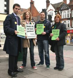 L-R Tom Brake MP, Anna Jones, Cllr Jonathan Lees, Cllr Julie Morris