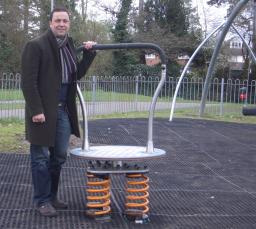 Jonathan Lees with the new play equipment