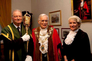 Cllr Taylor with mace bearer and CEO