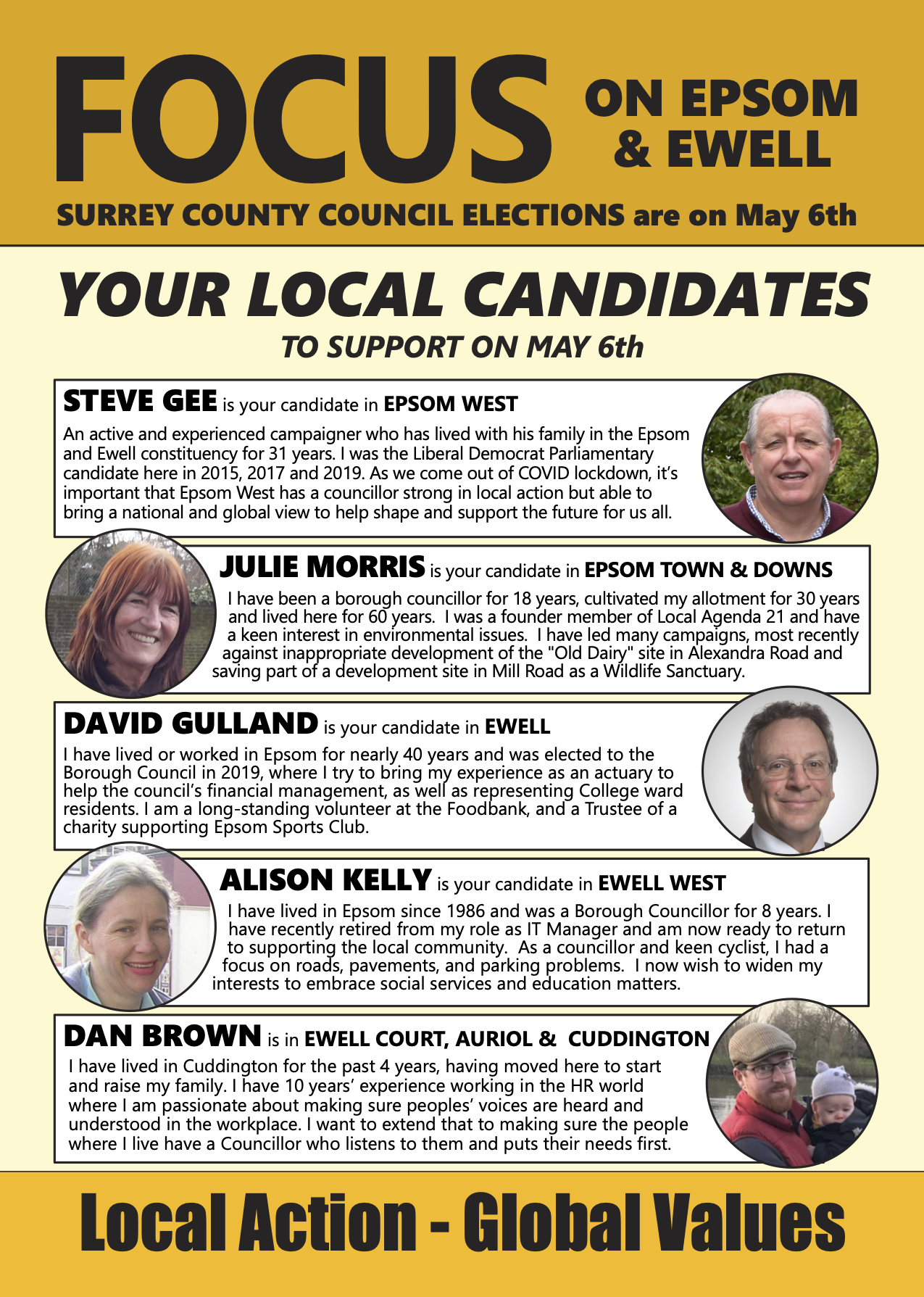 Epsom & Ewell LibDem candidates for the May 2021 Surrey County Council elections